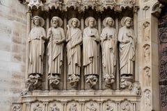 Λεπτομέρεια της εισόδου στη Notre Dame στο Παρίσι, Γαλλία Στοκ Εικόνες