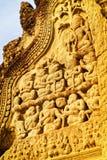 Λεπτομέρεια της διακόσμησης στο ναό Angkor Wat σύνθετο Στοκ Εικόνα
