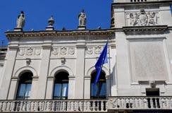 Λεπτομέρεια της πρόσοψης Δημαρχείων στην Πάδοβα στο Βένετο (Ιταλία) Στοκ φωτογραφία με δικαίωμα ελεύθερης χρήσης