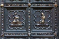 Λεπτομέρεια της πόρτας χαλκού βαπτιστηρίων, Φλωρεντία Στοκ Εικόνες