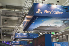 Λεπτομέρεια της στάσης Playstation στην εβδομάδα 2014 παιχνιδιών στο Μιλάνο, Ιταλία Στοκ φωτογραφία με δικαίωμα ελεύθερης χρήσης