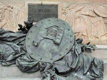 Λεπτομέρεια του αγάλματος ασπίδων χαλκού, πλατεία Αγίου Mark ` s, Βενετία, Ιταλία στοκ φωτογραφία με δικαίωμα ελεύθερης χρήσης