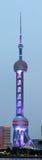 Λεπτομέρεια του ασιατικού πύργου μαργαριταριών της Σαγκάη τη νύχτα Στοκ φωτογραφία με δικαίωμα ελεύθερης χρήσης