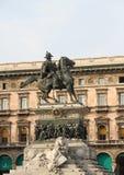 Λεπτομέρεια του ιππικού αγάλματος στην πλατεία Duomo - Μιλάνο Vittorio Emanuele ΙΙ βασιλιάς - Ιταλία Στοκ Εικόνα