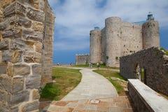 Λεπτομέρεια του καθεδρικού ναού και του κάστρου και του φάρου, Castro Urdiales, στοκ εικόνες