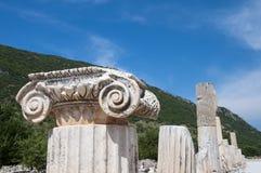 Λεπτομέρεια του κεφαλιού στηλών, αρχαία πόλη Ephesus, Selcuk, Τουρκία Στοκ φωτογραφία με δικαίωμα ελεύθερης χρήσης