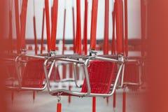 Λεπτομέρεια του κόκκινου ιπποδρομίου στο πάρκο έλξης Στοκ Φωτογραφίες
