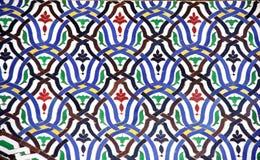 Λεπτομέρεια του παραδοσιακού μαροκινού τοίχου μωσαϊκών, Μαρόκο Στοκ Εικόνες