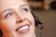 Λεπτομέρεια του πράκτορα τηλεφωνικών κέντρων στην εργασία Στοκ φωτογραφίες με δικαίωμα ελεύθερης χρήσης