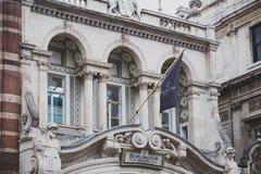 Λεπτομέρεια του σημαδιού του Μπέρλινγκτον Arcade στο κέντρο της πόλης του Λονδίνου Στοκ Φωτογραφία