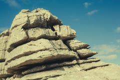 Λεπτομέρεια του σχηματισμού βράχων καρστ στη EL Torcal Antequera, Ισπανία Στοκ Εικόνες
