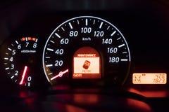 Λεπτομέρεια του ταμπλό ενός αυτοκινήτου Στοκ Φωτογραφία