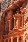 Λεπτομέρεια του Υπουργείου Οικονομικών στη Petra το αρχαίο Al Khazneh πόλεων μέσα Στοκ Φωτογραφίες