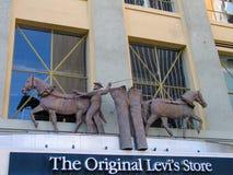 Λεπτομέρεια του Levi Στράους το αρχικό κατάστημα καταστημάτων Levis Στοκ Εικόνες