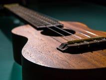 Λεπτομέρεια του ukulele με ρηχό Στοκ Φωτογραφία
