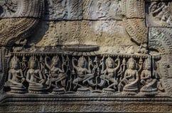 Λεπτομέρεια των γλυπτικών σε Angkor Thom, παγκόσμια κληρονομιά της ΟΥΝΕΣΚΟ, Σιάμ σχετικά με Στοκ εικόνα με δικαίωμα ελεύθερης χρήσης