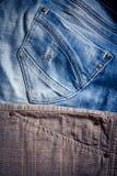 Λεπτομέρεια των εσωρούχων ατόμων ` s τζιν παντελόνι Στοκ Εικόνες
