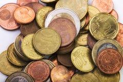 Λεπτομέρεια των ευρο- νομισμάτων Στοκ Φωτογραφία
