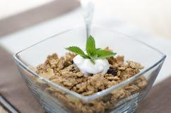 Λεπτομέρεια των δημητριακών σε ένα κύπελλο με το γιαούρτι, τη μέντα και τους νωπούς καρπούς Στοκ Φωτογραφία