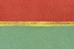 Λεπτομέρεια των κίτρινων γραμμών στην παιδική χαρά ποδοσφαίρου Λεπτομέρεια των γραμμών ι Στοκ Φωτογραφία