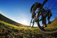 Λεπτομέρεια των ποδιών ατόμων ποδηλατών που οδηγούν το ποδήλατο βουνών στο υπαίθριο ίχνος στο ηλιόλουστο λιβάδι Στοκ Φωτογραφίες