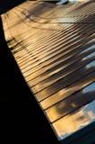 Λεπτομέρεια των φωτοβολταϊκών επιτροπών στο ηλιοβασίλεμα Στοκ Εικόνα