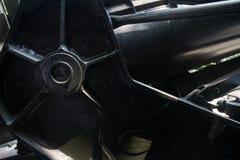 Λεπτομέρεια ECU του μηχανισμού στο συλλήφθείτ κομμάτι πυροβολικού αμερικάνικου στρατού στην επίδειξη στην παραλλαγή του Βιετνάμ μ Στοκ φωτογραφίες με δικαίωμα ελεύθερης χρήσης