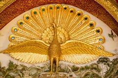 Λεπτομέρεια Peacock, βουδιστικός ναός Στοκ Εικόνα