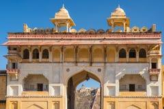 Λεπτομέρειες αρχιτεκτονικής στο ηλέκτρινο οχυρό, διάσημος προορισμός ταξιδιού στο Jaipur, Rajasthan, Ινδία στοκ εικόνες με δικαίωμα ελεύθερης χρήσης