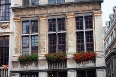 Λεπτομέρειες εξωτερικό ένα από τα ιστορικά κτήρια στο μεγάλο τετράγωνο θέσεων στις Βρυξέλλες στοκ φωτογραφίες με δικαίωμα ελεύθερης χρήσης