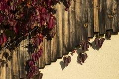 Λεπτομέρειες σπιτιών με ξύλινα slats και τα φύλλα Στοκ φωτογραφία με δικαίωμα ελεύθερης χρήσης