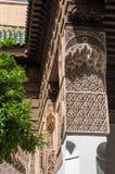 Λεπτομέρειες της ξύλινης γλυπτικής στο εσωτερικό του παλατιού EL Bahia, Marrakec Στοκ εικόνα με δικαίωμα ελεύθερης χρήσης