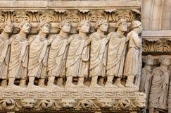 Λεπτομέρειες του καθεδρικού ναού δυτικού πύύ Αγίου Trophime σε Arles, Γαλλία Bouches-du-Ροδανός Στοκ Φωτογραφία