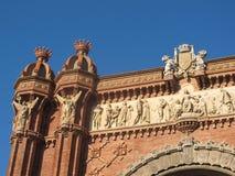 Λεπτομέρειες του τόξου de Triomphe στη Βαρκελώνη Στοκ Φωτογραφία