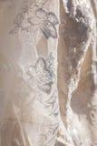 Λεπτομέρειες του υφάσματος φορεμάτων νυφών και του όμορφου weddi κεντητικής Στοκ φωτογραφίες με δικαίωμα ελεύθερης χρήσης
