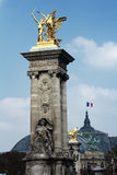 Λεπτομέρειες του Alexandre ΙΙΙ γέφυρα στο Παρίσι, Γαλλία Στοκ Εικόνες