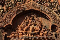 Λεπτομέρειες χάραξης στο ναό Banteay Srei Angkor Στοκ φωτογραφίες με δικαίωμα ελεύθερης χρήσης
