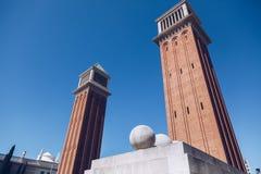 Λεπτομέρειες Placa de Espanya, το Εθνικό Μουσείο στη Βαρκελώνη S Στοκ Φωτογραφία