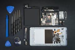 Λεπτομέρειες Smartphone στο flatlay ύφος Στοκ Φωτογραφία