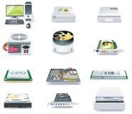 Λεπτομερές διάνυσμα σύνολο εικονιδίων μερών υπολογιστών. Μέρος 1 Στοκ Εικόνες