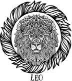 Λεπτομερές λιοντάρι στο των Αζτέκων ύφος Στοκ Φωτογραφίες