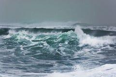 Λεπτομερές κύμα χειμερινής θύελλας που σπάζει και που καταβρέχει στην ακτή Στοκ Εικόνες