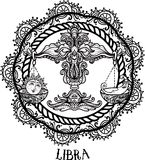 Λεπτομερές Libra στο των Αζτέκων ύφος Στοκ Εικόνα