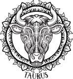 Λεπτομερές Taurus στο των Αζτέκων ύφος Στοκ φωτογραφία με δικαίωμα ελεύθερης χρήσης