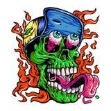 Λεπτομερές Zombie που φορά την επικεφαλής απεικόνιση καπέλων Στοκ Φωτογραφία