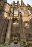 Λεπτομερής άποψη σχετικά με την πρόσοψη αβαείων Mont Saint-Michel στο φως ήλιων, Γαλλία Στοκ Φωτογραφίες