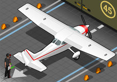 Isometric άσπρο αεροπλάνο σε οπισθοσκόπο Στοκ Εικόνες