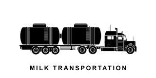 Λεπτομερής απεικόνιση φορτηγών βυτιοφόρων γάλακτος διανυσματική απεικόνιση