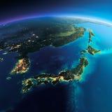 Λεπτομερής γη Ιαπωνία και Κορέα Στοκ φωτογραφίες με δικαίωμα ελεύθερης χρήσης