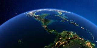 Λεπτομερής γη τη νύχτα Οι χώρες της Κεντρικής Αμερικής απεικόνιση αποθεμάτων